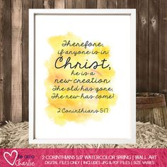 2 Corinthians 5:17 Personalized Watercolor Wall Art #yellow #scripture #easter