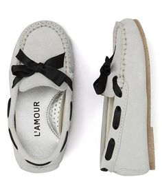 Look at this #zulilyfind! Cream Bow Leather Moccasin by L'Amour Shoes #zulilyfinds