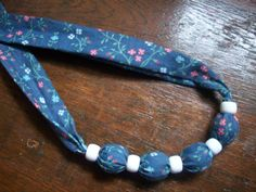 Vintage Fabric Covered Bead Necklace by MatriarchVintage on Etsy, $6.00