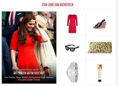 Kates rotes Etuikleid und Uhr aus silber - auf meinem Blog zum Nachstylen: http://catherine-middleton-style.blogspot.de/2015/07/star-look-zum-nachstylen-rotes-kleid.html