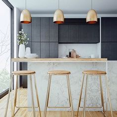 Copper, Marble and Charcoal Timber Kitchen with Light Wood Floors - a favourite combo!