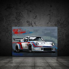 Excited to share this item from my #etsy shop: Porsche Martini Racing art, Automotive art decor, Car art canvas print, race car painting, Car Enthusiast decor, gift for him