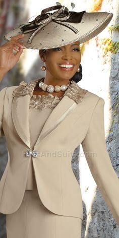 Love, LOVE this suit--I'd wear the hat, too!!! Gold & Black Church Suit & Hat