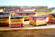 7-Layer Rainbow Cookies  by Samantha      Ohh…Rainbow cookies! This takes me back to my childhood. The sweet smell of Jewish and Italian bakeries in New York, rainbow cookies were bought by the dozen by this one!  However, living in Southern California, it's hard to find these colorful treats…so what better way to make it happen, than to make them you