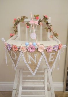 1st Birthday Vintage High Chair with ONE Bunting and Personalized Milk Bottle
