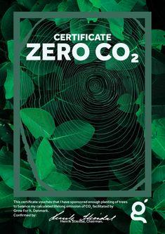 Certifikat design til Grow For It. Når du køber: Nulstil dit CO₂-udslip for livstid får du dette certifikat tilsendt.