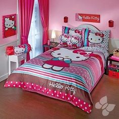 Hello kitty rainbow #printed duvet set #double #sided girls room bedding bed cove,  View more on the LINK: http://www.zeppy.io/product/gb/2/181707643428/