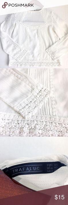Crochet Detailed white Zara Blouse. Crochet Detailed Zara Blouse. Excellent condition!  Looks gorgeous on. Size XS. Zara Tops Blouses