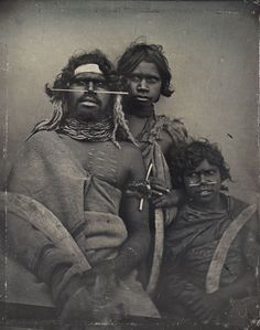 1847 daguerreotype of a south-east Australian Aboriginal and two younger companions.