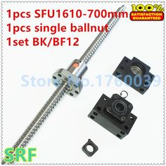 (39.14$)  Buy here - http://aigmz.worlditems.win/all/product.php?id=32610003652 - Hot sale!1pcs Dia:16mm Lead:10mm BallScrew 1610 L=700mm Rolled Ball screw SFU1610 with single Ballnut +1set BK/BF12 end support