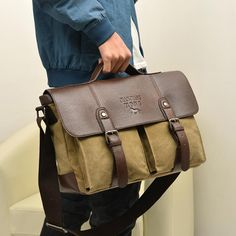 Canvas vintage Casual Briefcase Business Shoulder Bag Messenger Bags  Computer Laptop Handbag Bag Men s Travel Bags. Leather Crossbody ... 09b1becdfc3b6