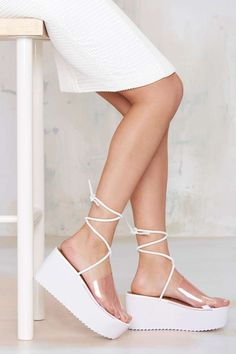 Nasty Gal Rizzo Flatform Sandals - Ankle Tie Strap and a Wide See-Through Strap Across The Top of the Foot - $68