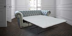 Chesterfield 3 Seater Settee Velluto Duck Egg Fabric SofaBed Offer