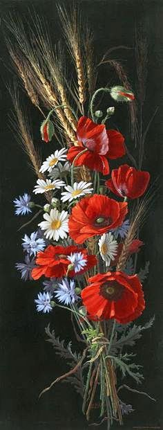 Art Painting Gallery, Deco Floral, Container Flowers, Red Poppies, Ikebana, Art Oil, Garden Art, Flower Art, Flower Arrangements