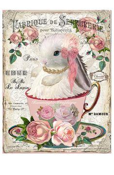 Images Vintage, Vintage Cards, Madeleine Paris, French Symbols, Lapin Art, Decoupage Vintage, Pillow Fabric, Vintage Easter, Easter Crafts
