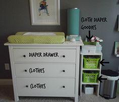 Cloth Diaper Station Changing Table Organization Nursery Storage