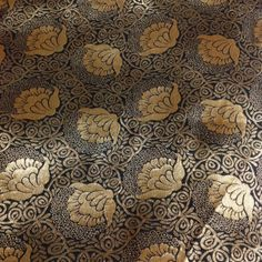 Floral Pattern Black and Gold by DesiFabrics