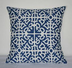 blue and white frettwork pillow cover