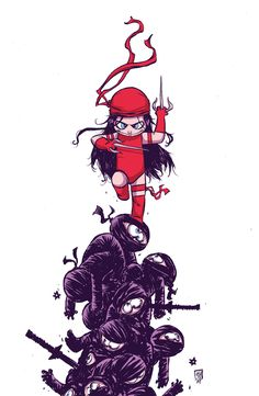 Elektra #1 variant cover by Skottie Young