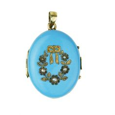 Victorian 14k Gold Turquoise Blue Enamel Locket Pendant with Seed Pearl Flowers