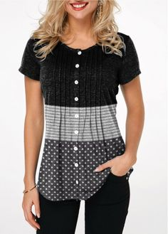 b235acf28 Round Neck Crinkle Chest Button Up T Shirt on sale only US$27.63 now, buy