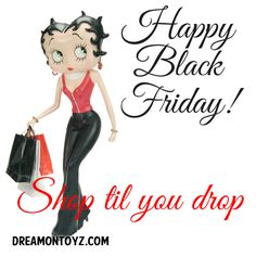 Happy Black Friday! Shop til you drop ~ More Betty Boop graphics & greetings:  http://bettybooppicturesarchive.blogspot.com/   ~And on Facebook~ https://www.facebook.com/bettybooppictures #BettyBoop carrying shopping bags