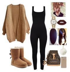"""""""I'm backkkkk❤"""" by ohthatsdess ❤ liked on Polyvore featuring UGG, Rolex, Charlotte Russe, Louis Vuitton and Agent 18"""