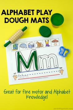 This Alphabet Play Dough Mat Printable is excellent for working on letter recognition, phonemic awareness, and strengthening fine motor skills. via @pixilatedskies
