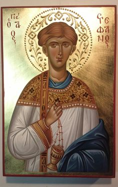 Stephen Protomartyr and Archdeacon, hand painted icon by Georgi Chimev Paint Icon, Saint Stephen, Byzantine Icons, Orthodox Icons, Christian Gifts, Religious Art, Saints, Hand Painted, Statue