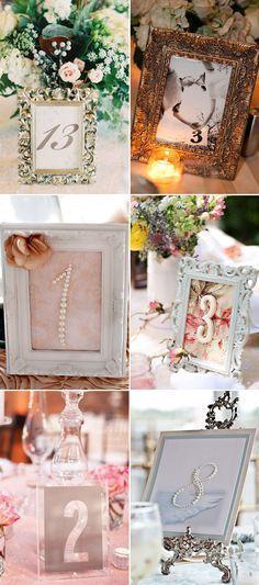 43 Creative DIY Wedding Table Number Ideas - Framed numbers!