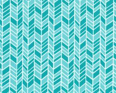 House & Garden  Straw Hat Chevron Blue Aqua from by JAQSFabrics