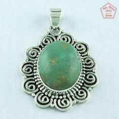 GREEN NATURAL TURQUOISE BEAUTIFUL DESIGN 925 STERLING SILVER PENDANT PN3635 #SilvexImagesIndiaPvtLtd #Pendant