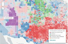 Partial screen capture of the interactive map Mapping Religious Adherence in the US