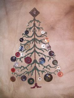 Embroidered Christmas tree with button ornaments