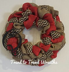 Multi Colored Burlap Wreath by TrendtoTrendWreaths on Etsy, $45.00