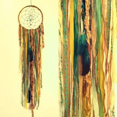 Bohemian Spirit Vintage Fabric Dreamcatcher by kmichel on Etsy