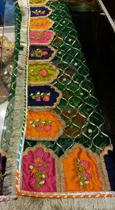 Dupatta with totally handwork gotta work Embroidery Suits Punjabi, Zardozi Embroidery, Embroidery Suits Design, Hand Embroidery, Embroidery Designs, Pakistani Formal Dresses, Shadi Dresses, Pakistani Dress Design, Pakistani Outfits
