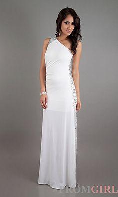 One Shoulder Dress with Sheer Side at PromGirl.com