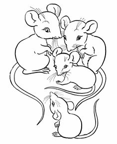 Farm animal coloring page | Family of mice