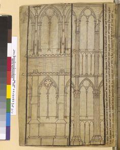 Carnet de dessin de Villard de Honnecourt (1227-1250), élévation de notre-Dame de Reims