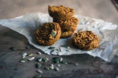 Vegetarian Carrot Cakes with oats flakes and pumpkin seeds