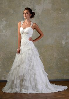 LOVE FANTASY, sophisticated a-line wedding dress with low waist, ruffled skirt and jewelry straps