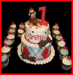 sock monkey birthday cake | Check this out ! Sock monkey cake for 1 year old birthday from A taste ...