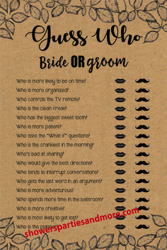 Guess Who is a fun Wedding Shower game that can be played at Bridal Showers, Wedding Showers, and even Engagement Parties. Print on Kraft paper or just about any other color paper to match the colors used in your shower. Printable Bridal Shower Games, Wedding Shower Games, Wedding Showers, What If Questions, This Or That Questions, Engagement Party Games, Couple Shower, Kraft Paper, Card Games