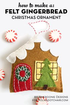 Felt Gingerbread House Christmas Ornament Pattern (The Polka Dot Chair) Quilted Christmas Stockings, Christmas Stocking Pattern, Christmas Sewing, Handmade Christmas, Christmas Fabric, House Ornaments, Felt Christmas Ornaments, Christmas Crafts, Christmas Ideas
