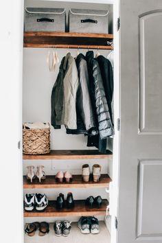 Small Coat Closet, Small Closets, Organize Coat Closet, Front Hall Closet, Entryway Closet, Mudroom, Closet Renovation, Closet Remodel, Entry Closet Organization