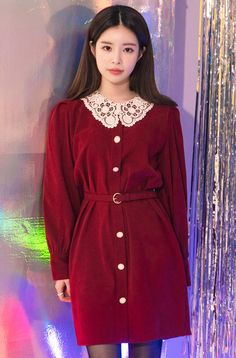 Shop feminine, adorable & ladylike Korean clothing at CHLO. Find out items ranging from dresses, tops to bottoms that will let out an instant charm. Preppy Outfits, Kpop Outfits, Winter Fashion Outfits, Korean Outfits, Fashion Dresses, Hijab Fashion, Red Dress Outfit, Belted Dress, Dress Outfits