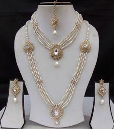 Indian Jewelry Golden Pearl Kundan Wedding Necklace Set Earring Tikka Long har #Indian