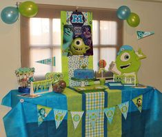 Monsters Inc Party Decorations Monster Inc Party, Little Monster Party, Monster University Birthday, Monster Birthday Parties, Baby Boy Birthday, 2nd Birthday, Birthday Party Desserts, Second Birthday Ideas, Deco Table