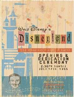 Giclee Printed Disneyland Opening Ceremony Poster by faisonstout, $30.00